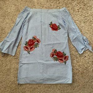 Romeo & Juliet Blue Off-the-Shoulder Striped Dress